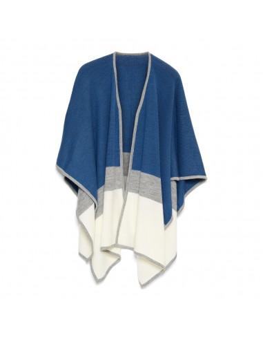 Omslagdoek soft lane blauw grijs wit